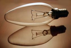 Old-fashioned incandescent light bulb.