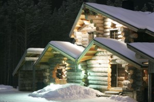 A lite home in winter